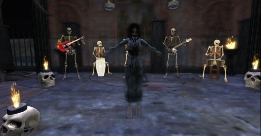Virgo and her music band of skeletons