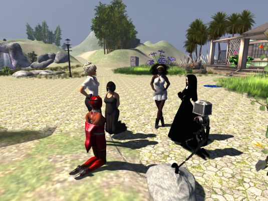 Eurobrats Sunday night (from left to right): slave, Dio, rona, Argi, Angelique (as a nun), qt