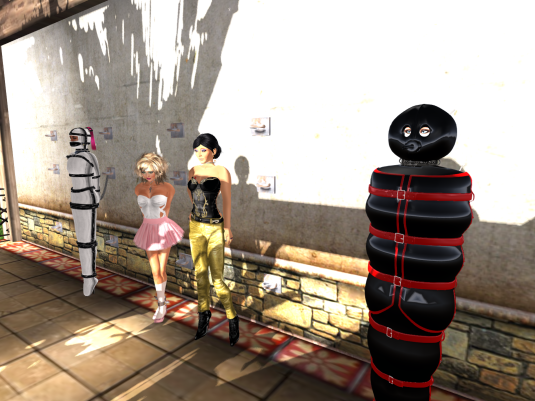 Enjoying bondage: Jenny inspects slave Flo, Angelique and Mii