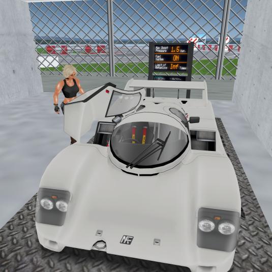 Diomita getting into her new racecar at Miyagie Raceway