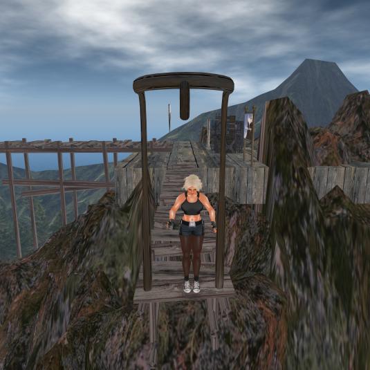 Diomita preparing for her bungee jump