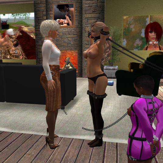Dio inspecting the new slave Karen