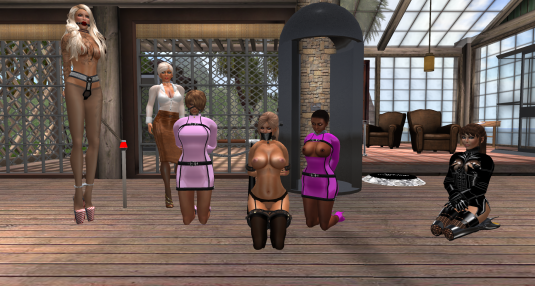 Enjoying bondage July 2015: Virgo towering the scene with Dio and the bound girls sklavin, toy, slave Flo and Kitty