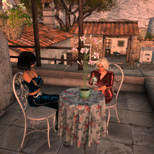 Jenny and Diomita taking a break to chat at Santa Maria dell'isola Italy