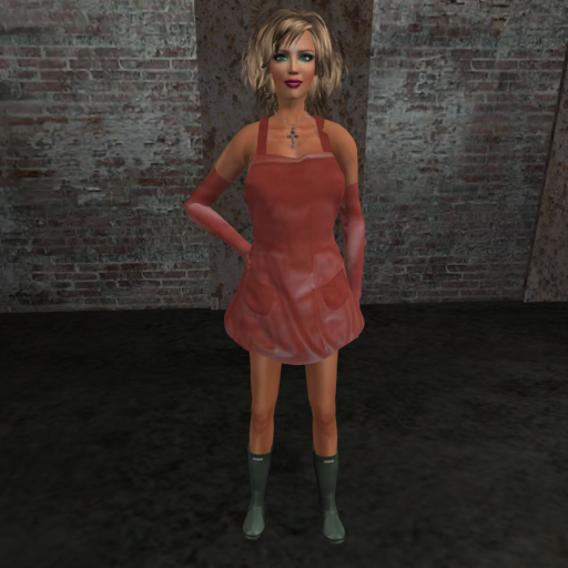 Cleaner (red) without pants, rough green boots [front]