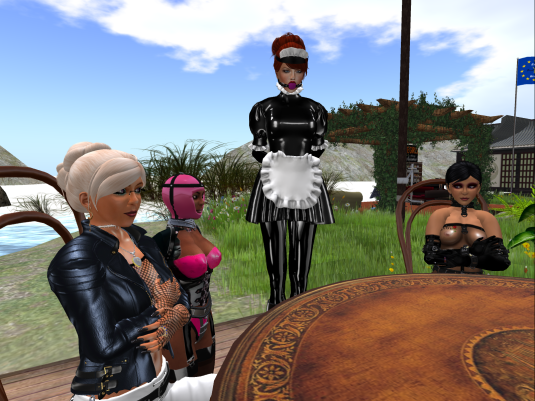 Dio, slave Flo, maid Sophie and Jenny chatting and enjoying our home