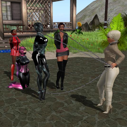 Dio taking vero, slave Flo, Mii and Nina to the event area