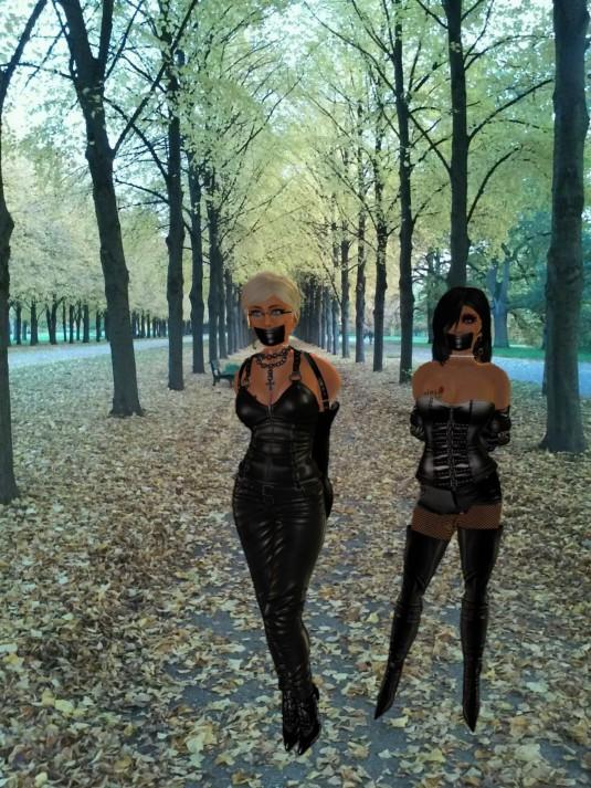 Jenny and Diomita Walking and enjoying some selfbondage