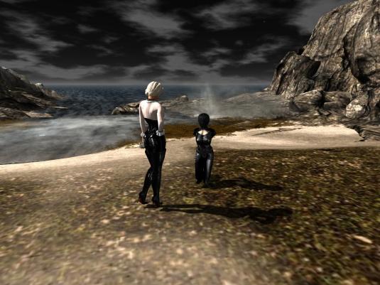 Diomita and slave Nina at the beach of Saint Pete City