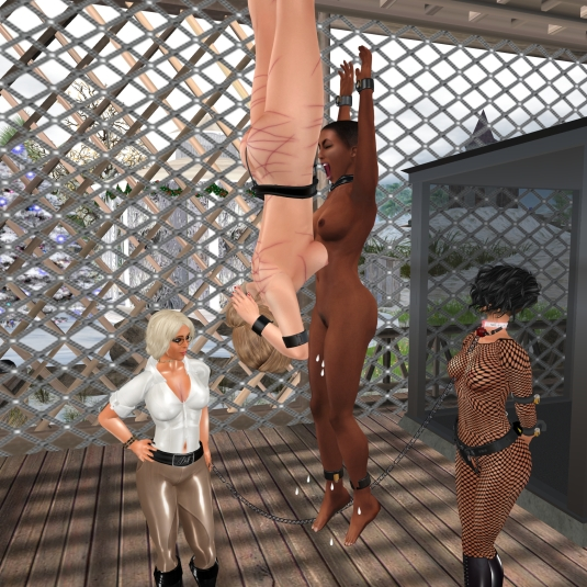 Enjoying bondage in December (2): Suspended slave LL and slave Flo - Dio and sklavin watching slave Flo having intensive pleasure