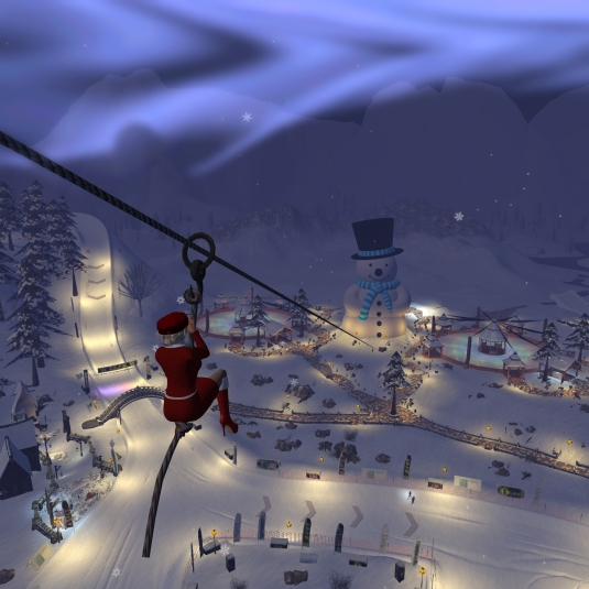 Dio on the zip wire at Linden's Winter Wonderland