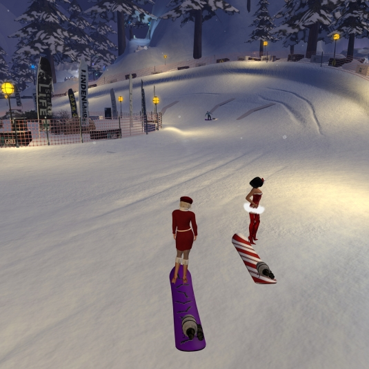 Jenny and Diomita snowboarding
