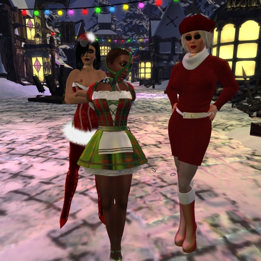 Jenny, slave Flo and Diomita at Winter Wonderworld village