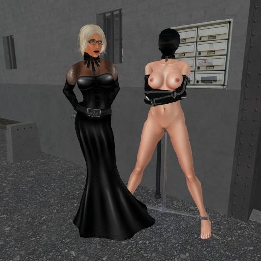 Last bondage in 2015: Dio with slave L at Gwen's storage.