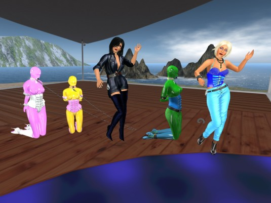 First Friday Night Party 2016: slaves Nina and Flo watching their owners Jenny and Diomita dancing (Sklavin Gebby added to the picture)