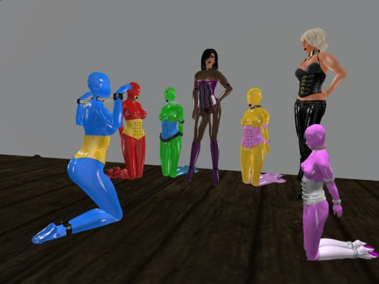 Jan, 10th: Living Latex Dolls posing for United colours of slavetton