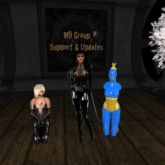 Abess Diomita with pacified Kitty and colourful living latex dool slave cecy at Mesmerize Dungeon