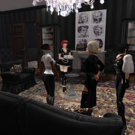 After dinner: Maid Nina serving coffee for the ladies and the accountant