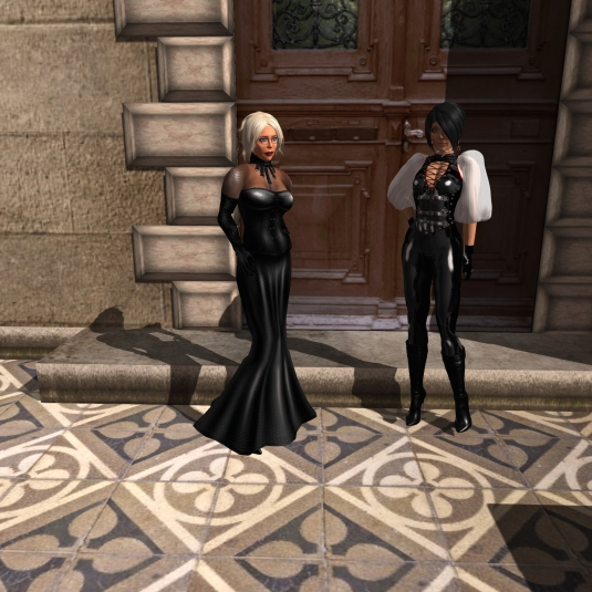 Lady Dio and Lady Jenny at the door expecting their new accountant