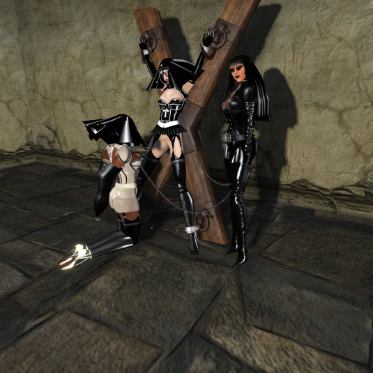 Feb 9th: Behind the thick walls of the monastery at Island of pain - The Abbess Diomita supervising the latex slave nuns Flo and Nina having particular fun