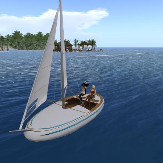 """Feb 11th: Diomita sailing her new boat """"Nemo3"""" with latex slave nun Flo"""