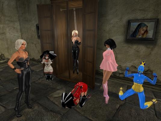 Enjoying bondage February 2016: latex slave nun Flo, Dio, Kitty in the closet, latex slave nun Gebby, Jenny, living latex doll slave cecy