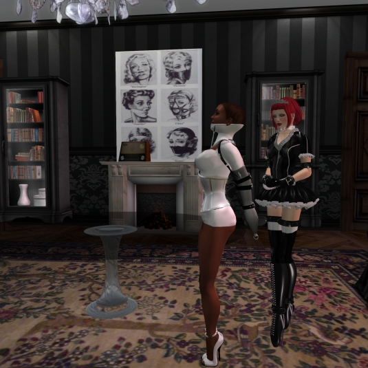 Maid Nina forcing Florence's arms into a single glove armbinder