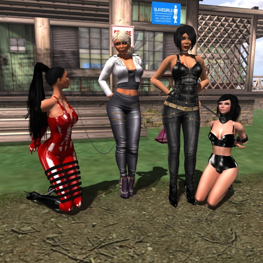 April 3rd: Euro Bondage sluts Adarra and Poison (from left: Adarra, Diomita, Mistress Jenny, Poison)