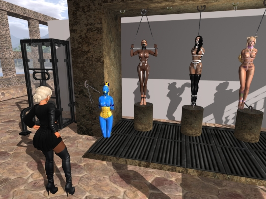 April 12th at Ropers Playground: Diomita looking at the bondage sluts (slave cecy, Adarra, Fessel ... and unknown visiting slave)