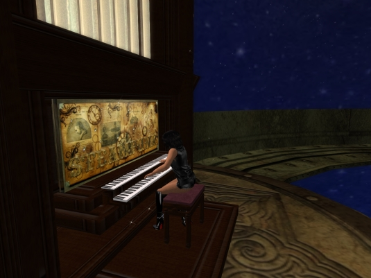 May 2nd: Jenny playing the piano in the planetarium at JPK Airship Pirates Port Town