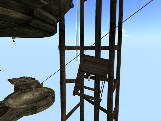 May 2nd: Jenny and Diomita using the upside down elevator at JPK Airship Pirates Port Town