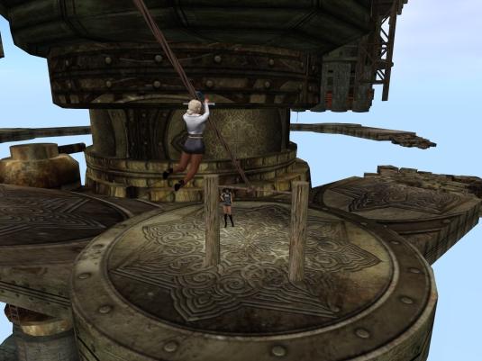 May 2nd: Diomita using a zip line at JPK Airship Pirates Port Town