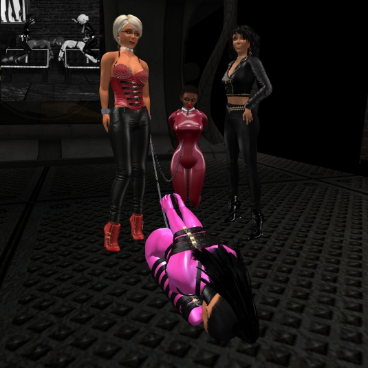 May 7th: Diomita, bondage slut Adarra, slave Flo and Jenny at Mesmerize Dungeon