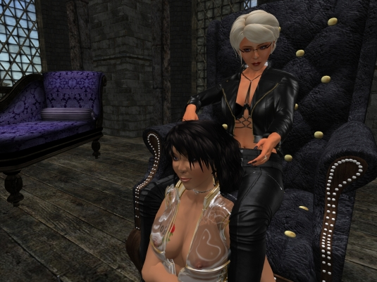 May 8th: Mistress Diomita and her Ehesklavin at the Lesbian D/s Mature&Young Society