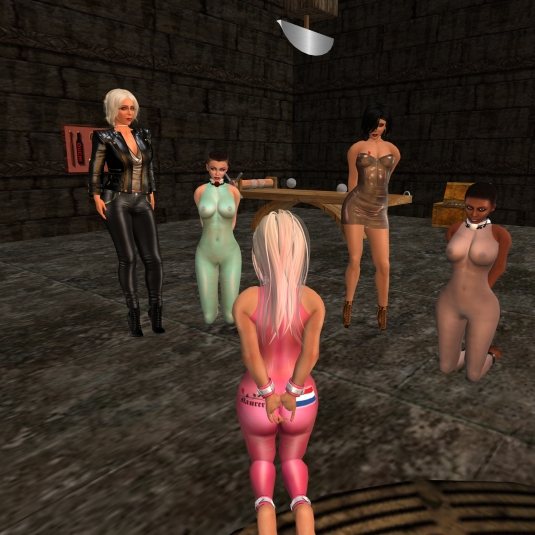 July 27th: Diomita and Jenny with slave Flo, slave cecy and slavin C in their soaked summer catsuits at FDS