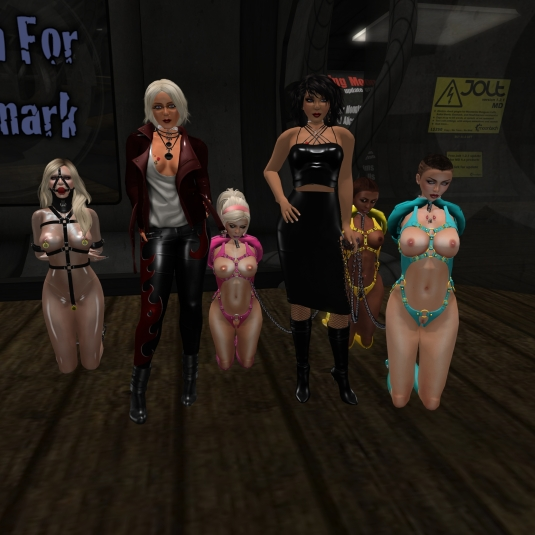 August 4th at MD: slave L, Diomita, slave pink, Mistress Jenny, slave yellow and slave cyan