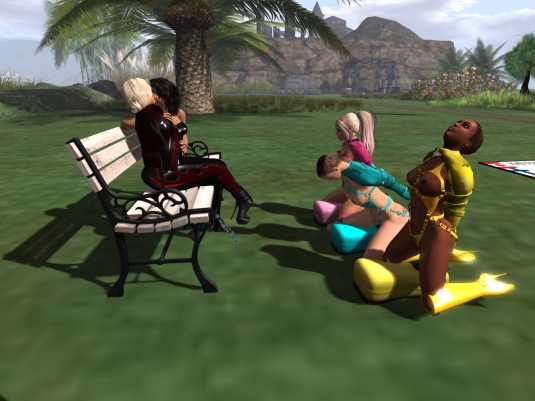 August 4th: slaves yellow, cyan and pink enjoying the kinky cushions while Mistress and I cuddle