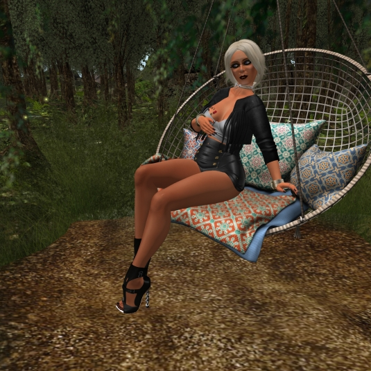 Augsut 5th: Diomita Relaxing in the hanging chair at Hide & Seek
