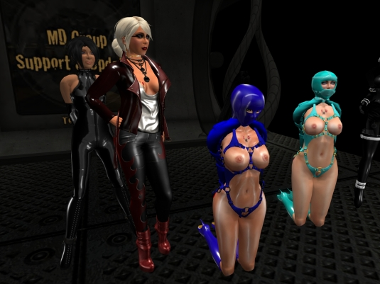 August 18th at MD: Jenny, Diomita and slave blue and cyan