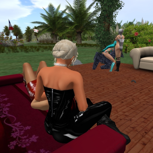 August 22nd: Diomita and Jenny watching slave cecy riding Pony Bronco under Linda's guidance