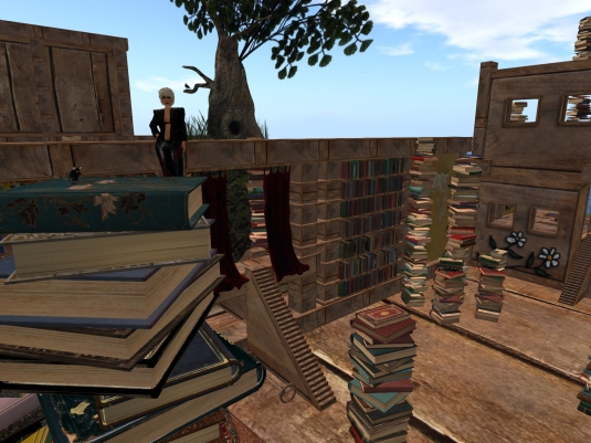 September 2nd: Climbing up a pile of books at Cica's Library