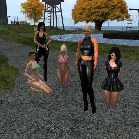 September 27th: Mistress Jenny, Diomita and slave cecy, slavin C, slave L (hidden behind me) and Poison exploring S & L Slave Storage and Castle of Fate