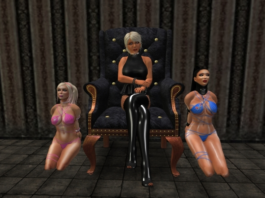Ocotber 1st at LS: Diomita with slavin C and slave Adarra in their September outfits