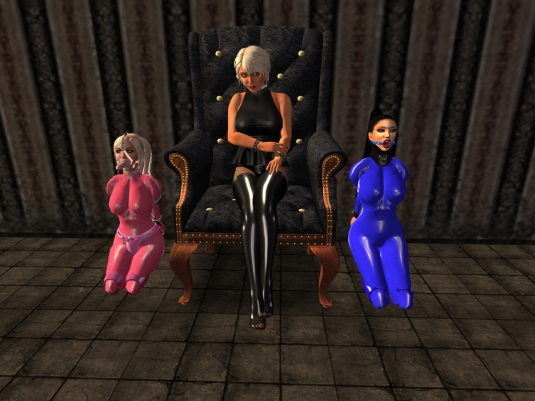Ocotber 1st at LS: Diomita with slavin C and slave Adarra in their October Outfits