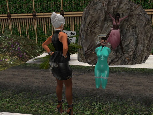 October 19th at Surrender Cove: Diomita looking at trapped Argi and slave cecy