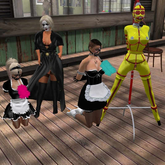 Ocotber 29th: slavin C, Diomita, slave cecy and gord doll slave Flo - slavin C and slave cecy already in their November maid slave outfit