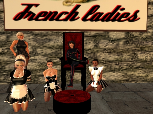 November 14th at French Ladies in Bondage: slavin maid C, Diomita, slave maid cecy, Mistress Jenny and slave maid Flo