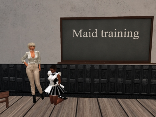 November 19th: Diomita with slave maid Flo at Dreamshire Maid Training School