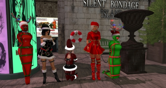 December 7th at Silent Bondage Island: slave Flo, Mistress Jenny, slavin C, Diomita and slave cecy