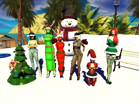 December 6th - slaves in their seasonal December outfits: slave D, Mistress Jenny, slave cecy, slave Flo, Diomita, slavin C and our guest Linda (1)